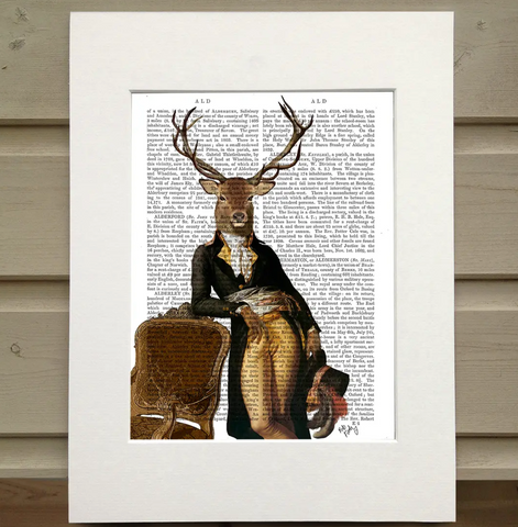 Deer and Chair Book Print