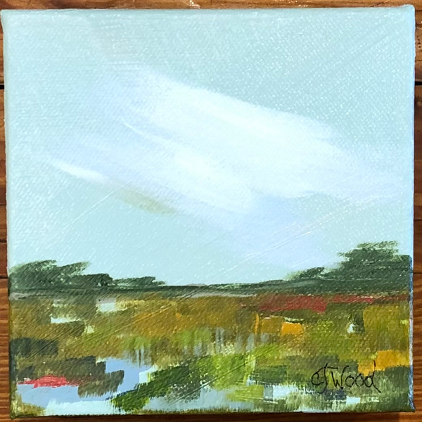 Jeanie Wood Painting - Surf Road Forgotten Coast (5x5 inches)