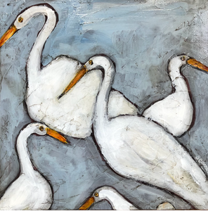 "Suzanne Conner Painting: Three Swans (12""x12"")"