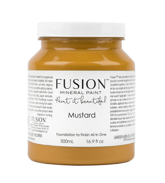 A pint (500 ml) container of Mustard Fusion Mineral Paint.