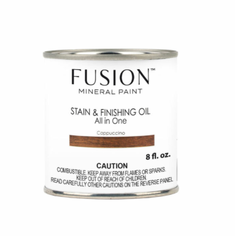 Pictured is an 8 fl. oz. can of Fusion Stain & Finishing Oil in Cappuccino.