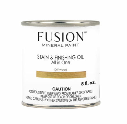 Pictured is an 8 fl. oz. can of Fusion Stain & Finishing Oil in Driftwood.