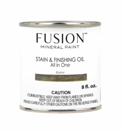 Pictured is an 8 fl. oz. can of Fusion Stain & Finishing Oil in Ebony.