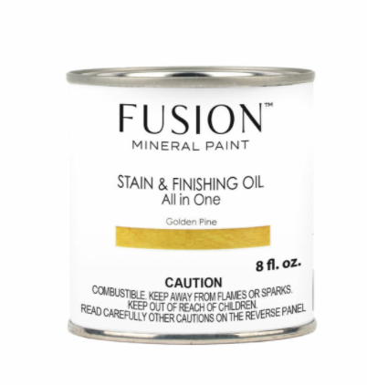Pictured is an 8 fl. oz. can of Fusion Stain & Finishing Oil in Golden Pine.
