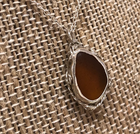 Shoreline Angel Sea Glass Necklace - Amber Rope SG1047