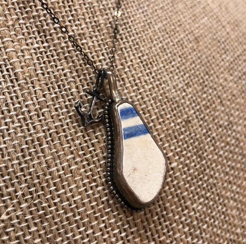 Shoreline Angel Sea Pottery Necklace - Blue & White Striped SP1015