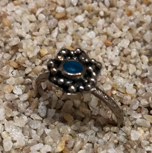 Shoreline Angel Ring - Cyan Flower with Silver Pearls Size 7.25 R2023