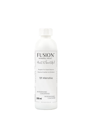 Pictured is a 250mL bottle of Fusion TSP Alternative. The bottle has a screw top.