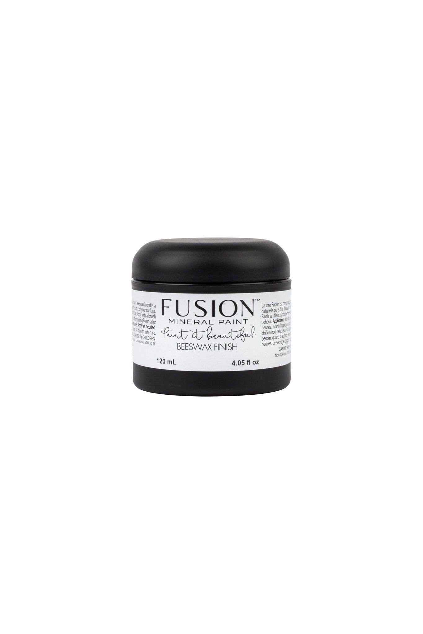Pictured is a 120 mL container of Fusion Beeswax Finish. It is in a small black container with a twisting lid.