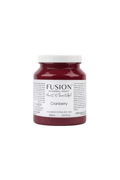 A pint (500 ml) container of Cranberry Fusion Mineral Paint.