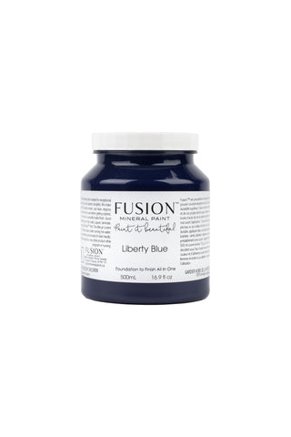 A pint (500 ml) container of Liberty Blue Fusion Mineral Paint.