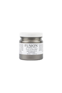 A 250ml container of Brushed Steel Metallic Fusion Mineral Paint.