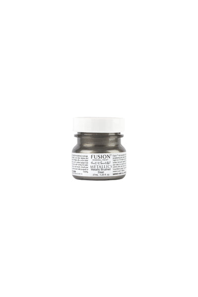 A 37ml container of Brushed Steel Metallic Fusion Mineral Paint.