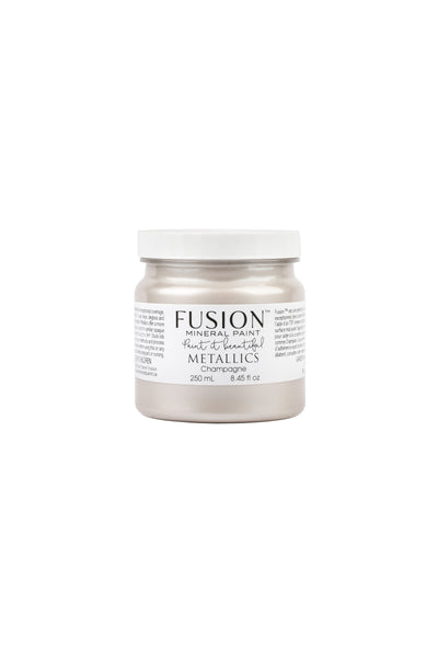 A 250ml container of Champagne Metallic Fusion Mineral Paint.