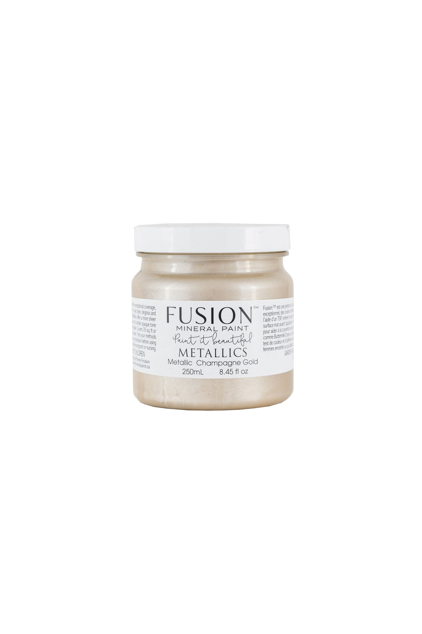 A 250ml container of Champagne Gold Metallic Fusion Mineral Paint.