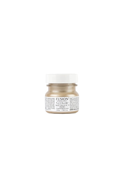 A 37ml container of Champagne Gold Metallic Fusion Mineral Paint.