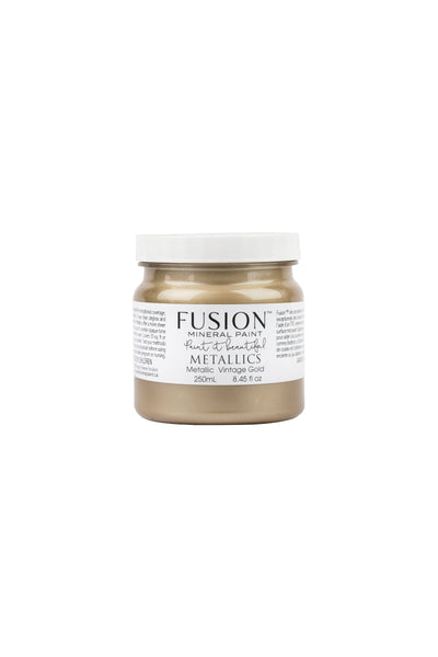 A 250ml container of Vintage Gold Metallic Fusion Mineral Paint.