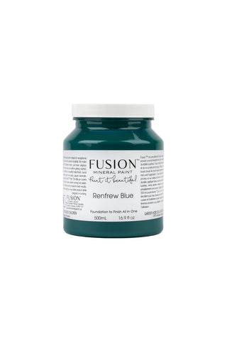 A pint (500 ml) container of Renfrew Blue Fusion Mineral Paint.