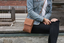 Load image into Gallery viewer, Eco-leather small unisex cross body bag designed in Toronto handcrafted in India female