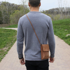 Eco-leather small unisex cross body bag designed in Toronto handcrafted in India male