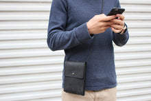 Load image into Gallery viewer, Eco-leather small unisex cross body bag designed in Toronto handcrafted in India male