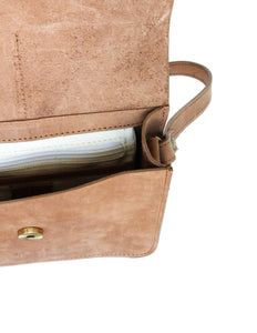 Eco-leather minimal crossbody bag. Designed in Toronto handcrafted in India. Interior