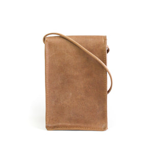 Eco-leather small unisex cross body bag designed in Toronto handcrafted in India back