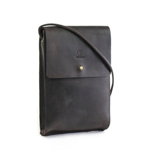 Eco-leather small unisex cross body bag designed in Toronto handcrafted in India front
