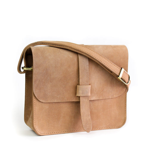 Eco-leather minimal crossbody bag. Designed in Toronto handcrafted in India. Front