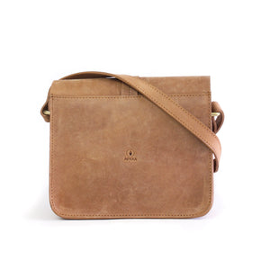 Eco-leather minimal crossbody bag. Designed in Toronto handcrafted in India. Back