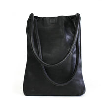 Load image into Gallery viewer, Eco-leather a-line minimal tote with interior divider and slip-in pockets. Designed in Toronto handcrafted in India. front