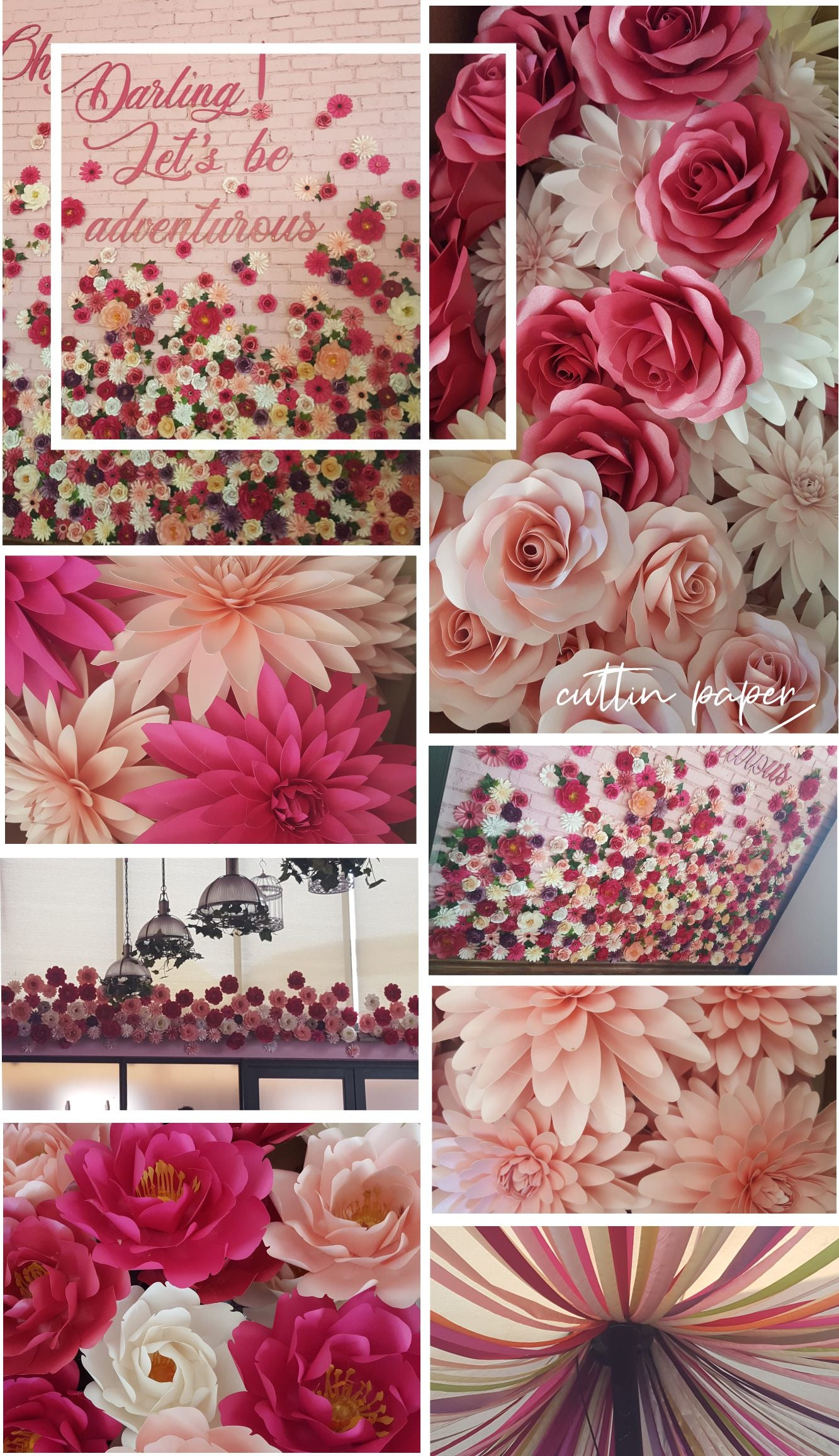 Goddess Cafe Southdowns -  Paper flower feature wall and paper decor
