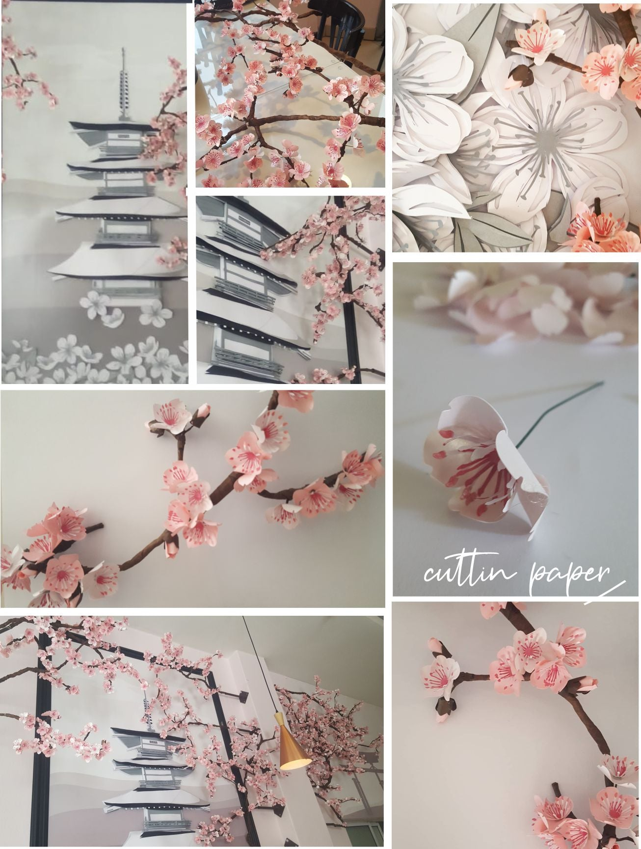 Yamato Japanese Restaurant Illovo - paper cherry blossoms and 3D layered wall art