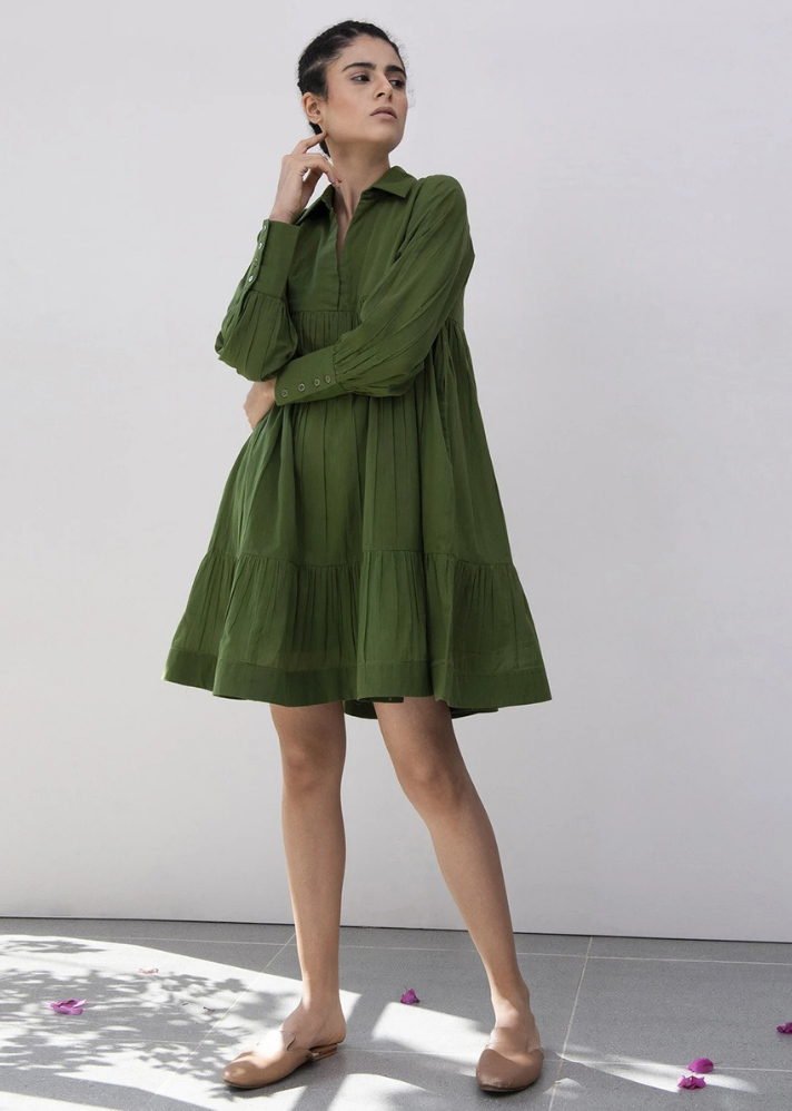 Heather & Grass Gathered Dress - Ethical made fashion - onlyethikal