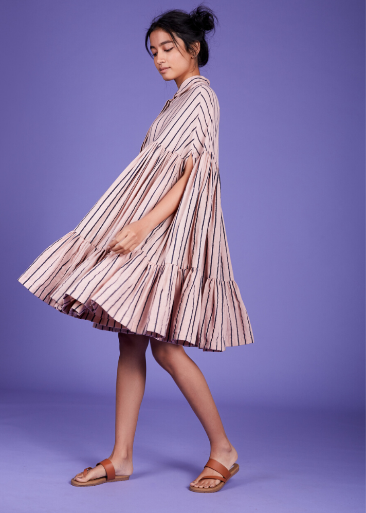 Cape dress - Pink - Ethical made fashion - onlyethikal