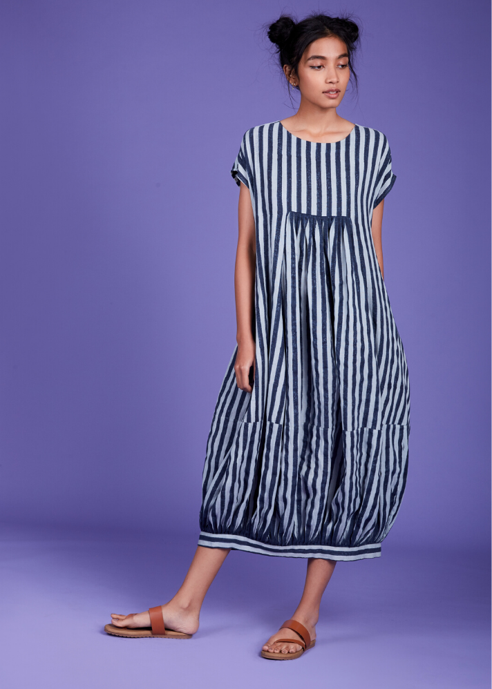 Handwoven Cotton Stripe Dress - Blue - Ethical made fashion - onlyethikal