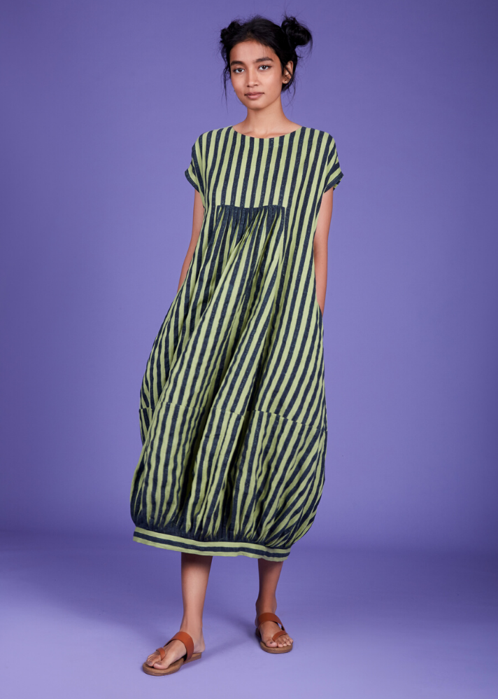 Handwoven Cotton Stripe Dress - Green - Ethical made fashion - onlyethikal