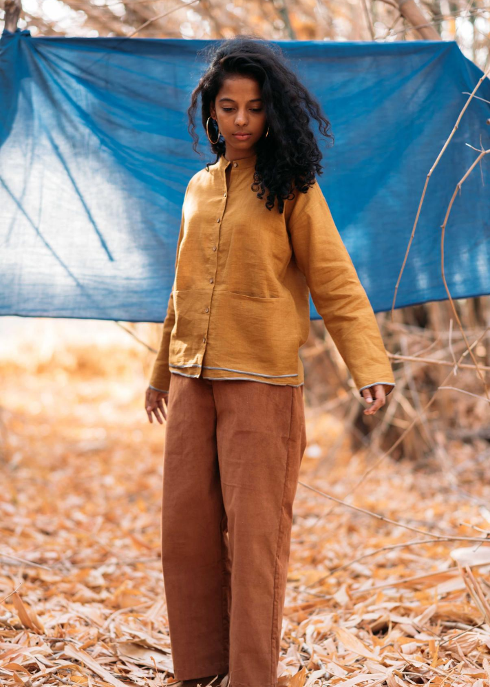 Mustard Linen Shirt - Ethical made fashion - onlyethikal