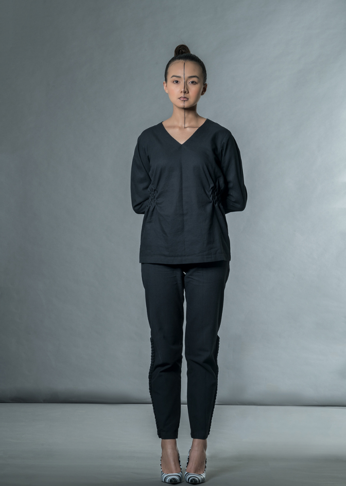 Khadi Black Top - Ethical made fashion - onlyethikal