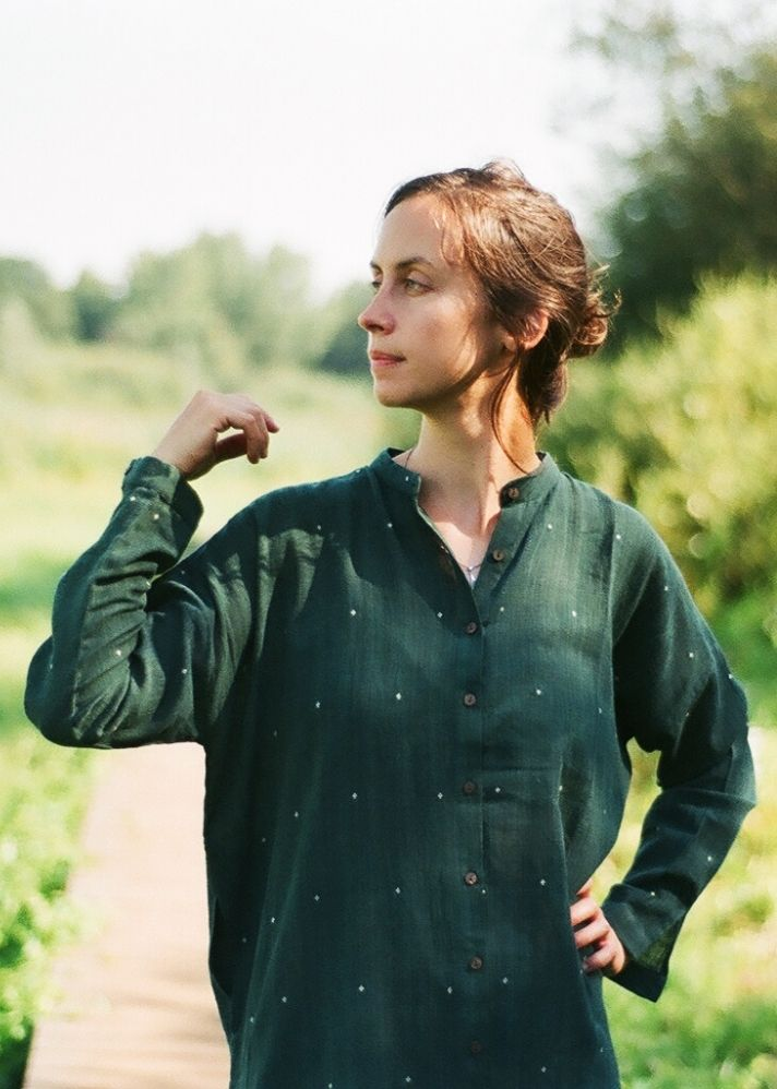Bottle green handwoven shirt dress - onlyethikal