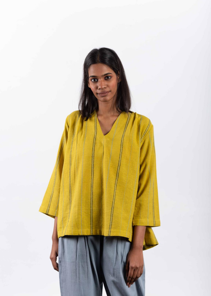 Canary yellow pleated top in Organic Cotton - Ethical made fashion - onlyethikal