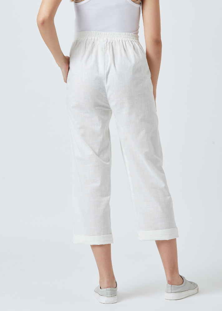 Tapered White pants - Ethical made fashion - onlyethikal