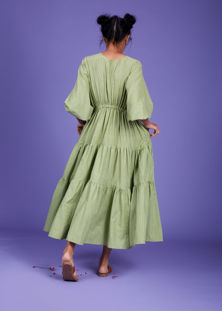 Drawstring bow dress - Green - Ethical made fashion - onlyethikal