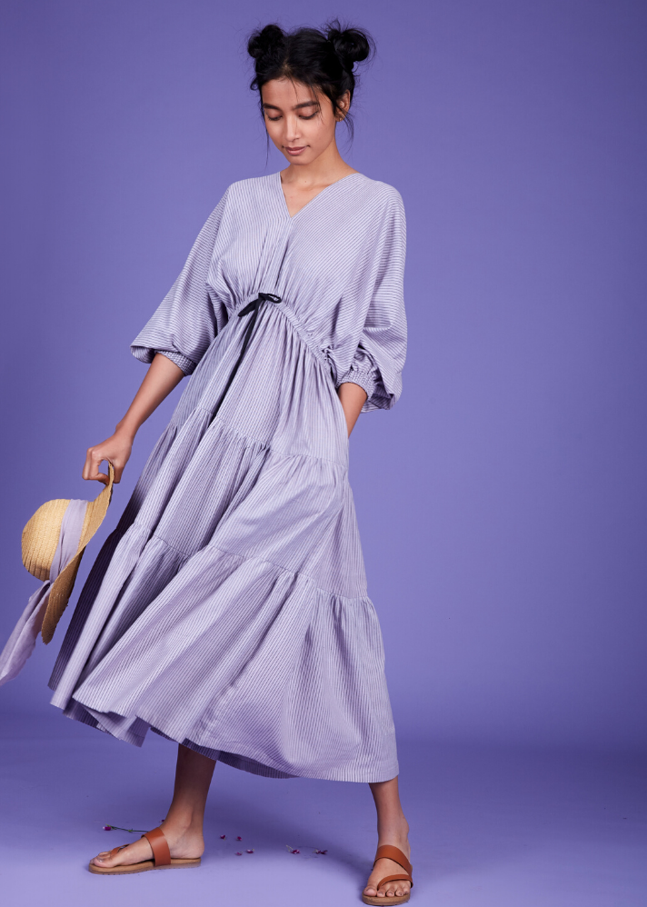 Drawstring bow dress - Lavender - Ethical made fashion - onlyethikal