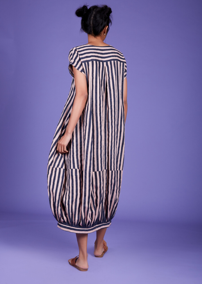 Handwoven Cotton Stripe Dress - Pink - Ethical made fashion - onlyethikal