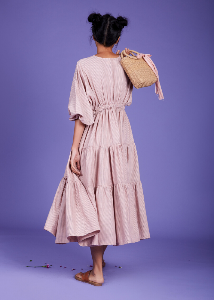 Drawstring bow dress - Pink - Ethical made fashion - onlyethikal