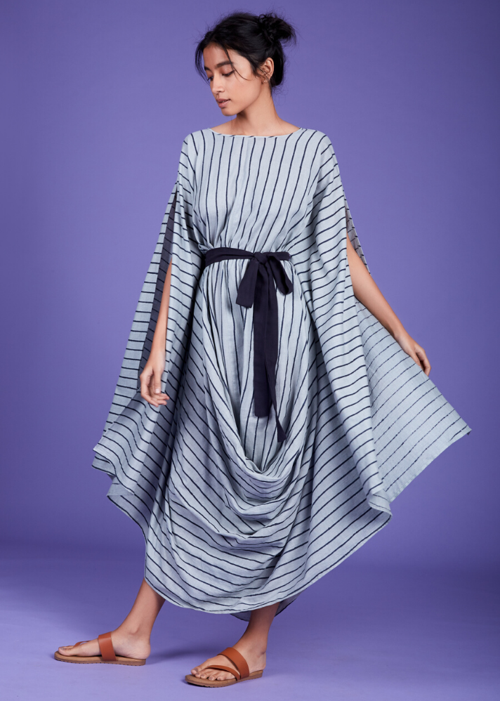 Cowl Dress - Blue - Ethical made fashion - onlyethikal