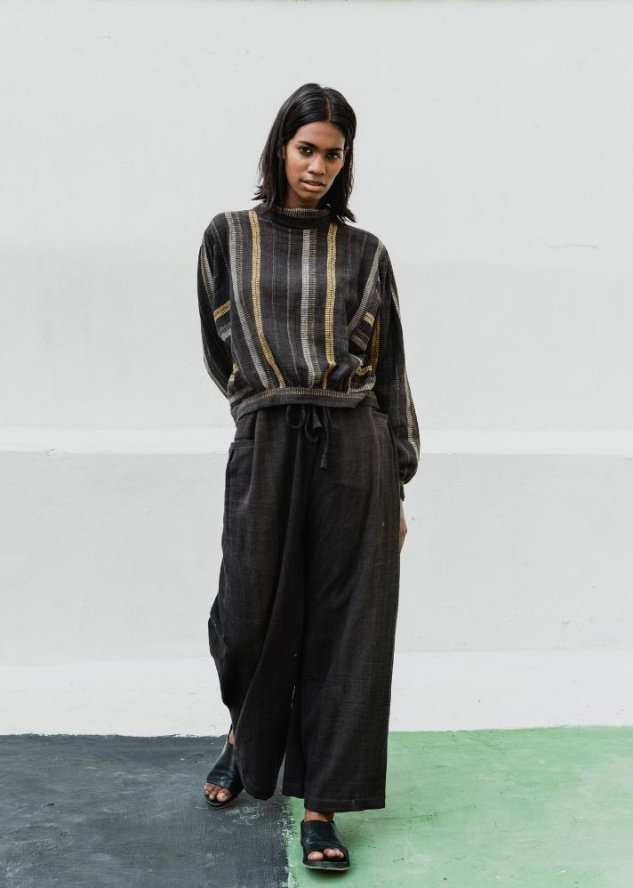 Vintage black bomber stripes in Organic Cotton - Ethical made fashion - onlyethikal