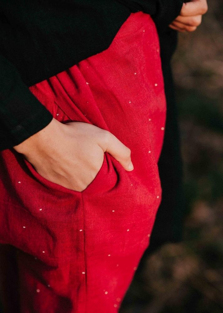 Scarlet Red Drawstring Pants - Ethical made fashion - onlyethikal