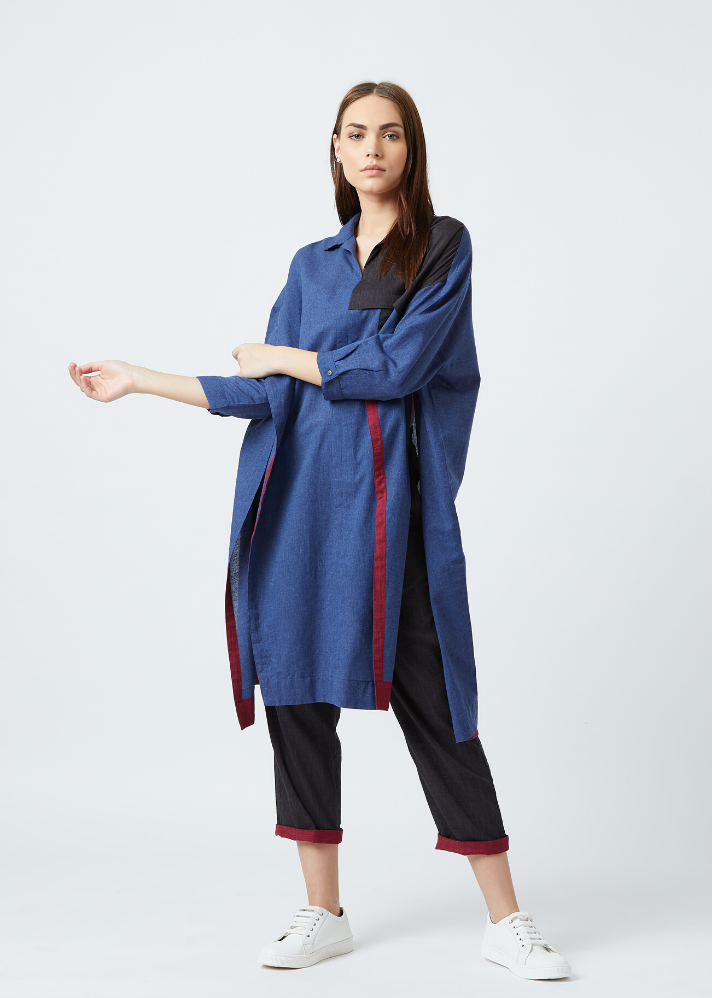 Blue tunic and pants set - Ethical made fashion - onlyethikal
